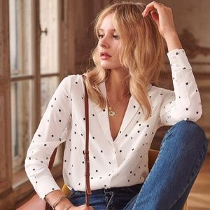 🎄Club Monaco Polka Dot blouse